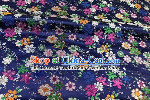 Japanese Kimono Classical Florescence Pattern Design Navy Brocade Fabric Asian Traditional Satin Silk Material