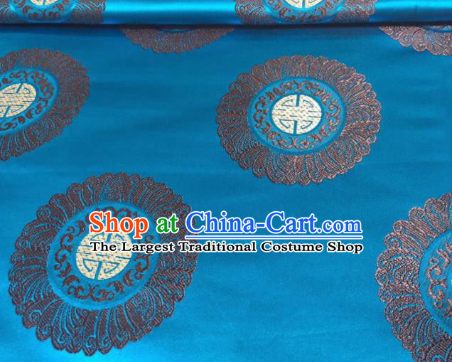 Chinese Classical Royal Pattern Design Blue Brocade Fabric Asian Traditional Satin Silk Material