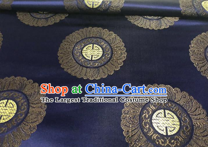 Chinese Classical Royal Pattern Design Navy Brocade Fabric Asian Traditional Satin Silk Material