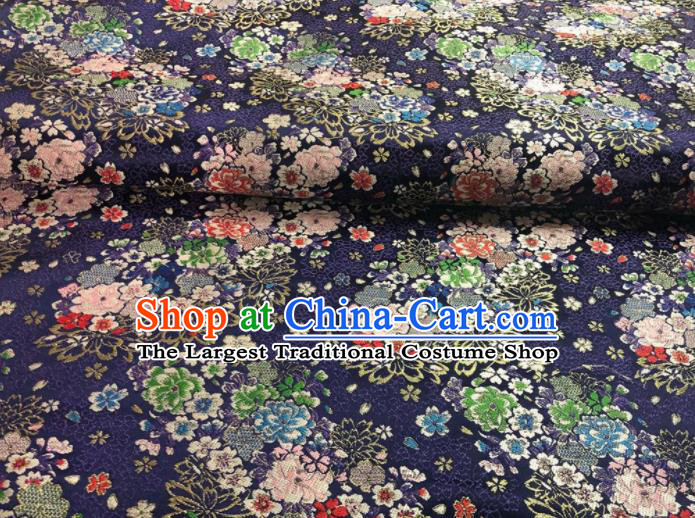 Japanese Classical Floral Flowers Pattern Design Navy Brocade Fabric Asian Traditional Satin Silk Material