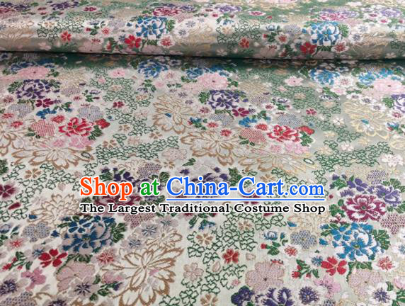 Japanese Classical Floral Flowers Pattern Design Light Green Brocade Fabric Asian Traditional Satin Silk Material