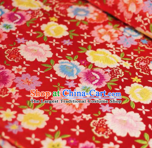 Chinese Classical Beautiful Flowers Pattern Design Red Brocade Fabric Asian Traditional Satin Silk Material