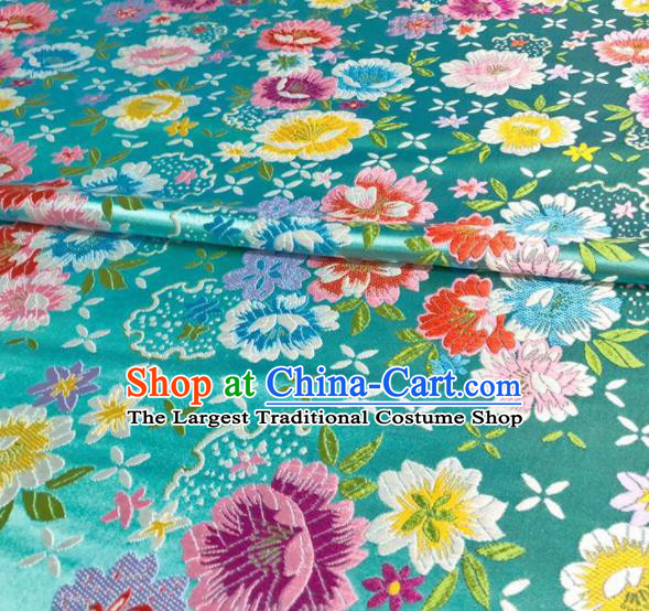 Chinese Classical Beautiful Flowers Pattern Design Blue Brocade Fabric Asian Traditional Satin Silk Material