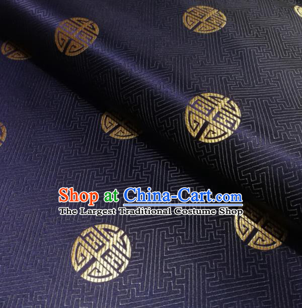 Chinese Classical Royal Longevity Pattern Design Navy Brocade Fabric Asian Traditional Satin Silk Material