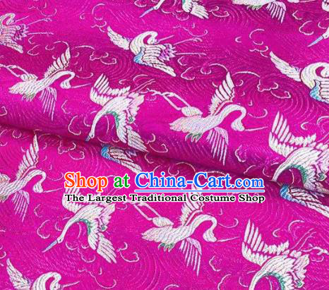 Chinese Classical Royal Cranes Pattern Design Rosy Brocade Fabric Asian Traditional Satin Silk Material