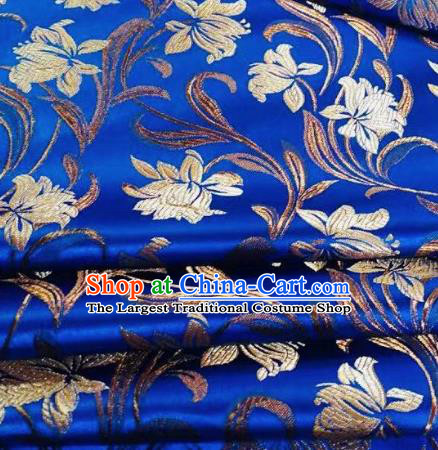 Chinese Classical Timbo Flowers Pattern Design Royalblue Brocade Fabric Asian Traditional Satin Silk Material