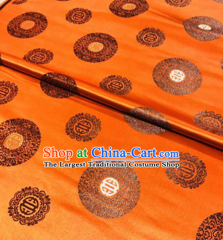 Chinese Royal Round Pattern Design Orange Brocade Fabric Asian Traditional Satin Silk Material