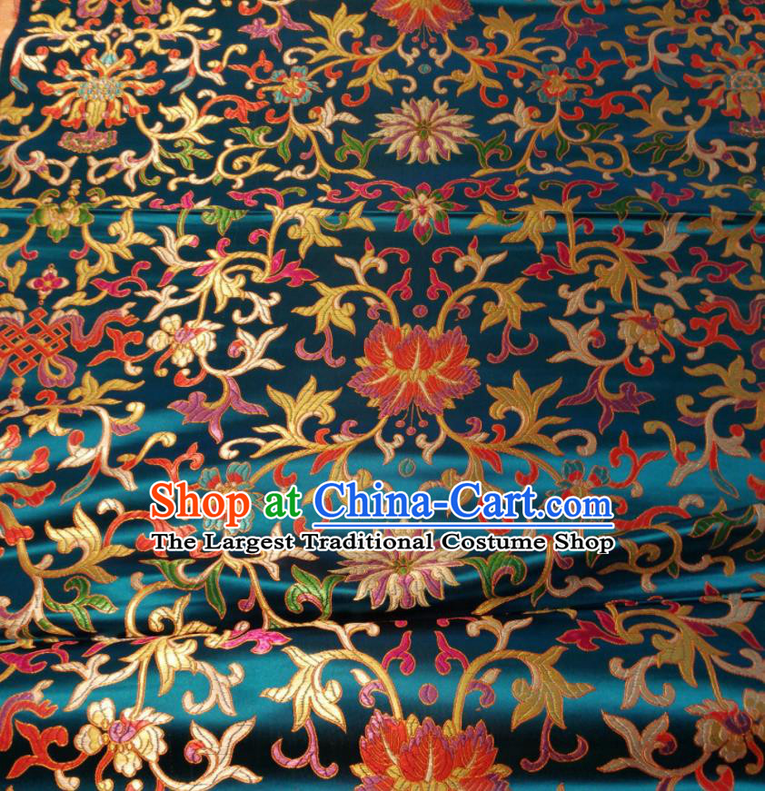 Chinese Royal Twine Floral Pattern Design Lake Blue Brocade Fabric Asian Traditional Satin Silk Material