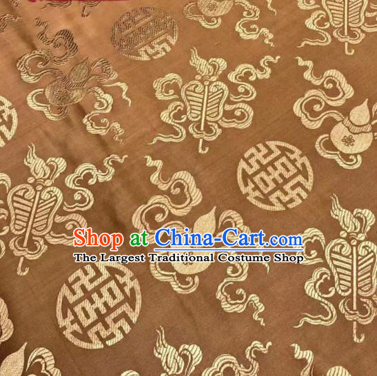 Chinese Royal Eight Immortals Pattern Design Brown Brocade Fabric Asian Traditional Satin Silk Material