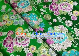 Chinese Royal Daisy Peony Pattern Design Green Brocade Fabric Asian Traditional Satin Silk Material
