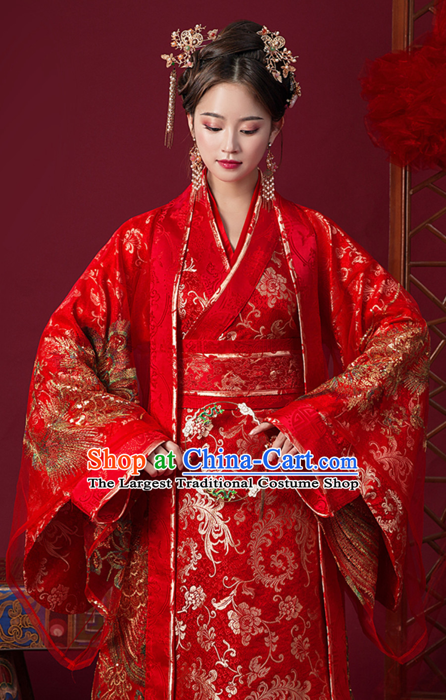 Ancient Chinese Tang Imperial Palace Princess Bride Wedding Dress