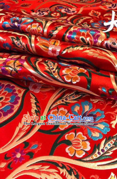 Chinese Classical Embroidered Pattern Design Red Nanjing Brocade Fabric Asian Traditional Satin Silk Material