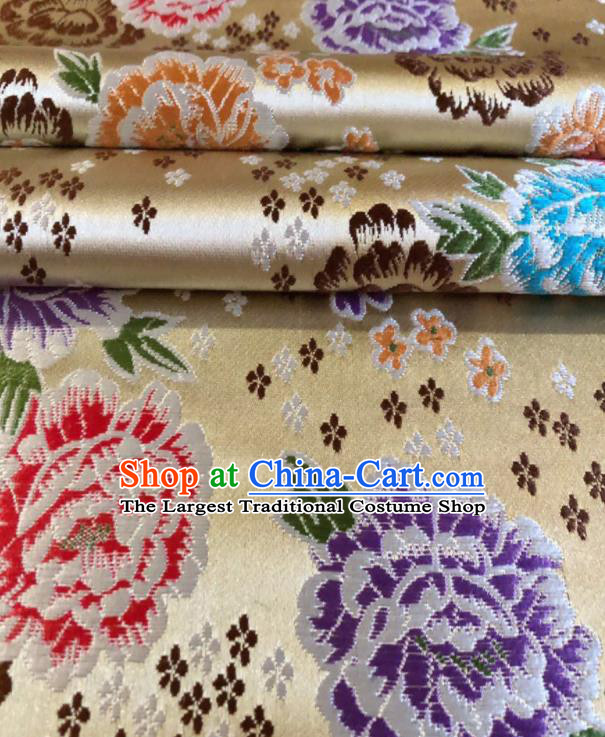 Chinese Classical Embroidered Peony Pattern Design Light Golden Brocade Fabric Asian Traditional Satin Silk Material