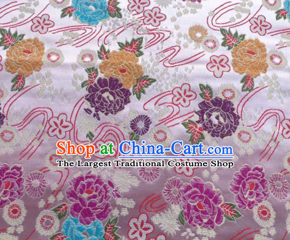 Chinese Classical Peony Plum Pattern Design White Brocade Fabric Asian Traditional Satin Silk Material