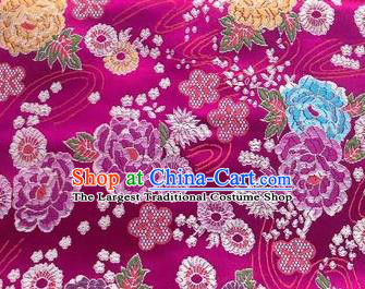 Chinese Classical Peony Plum Pattern Design Rosy Brocade Fabric Asian Traditional Satin Silk Material