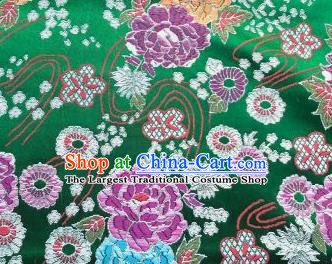 Chinese Classical Peony Plum Pattern Design Green Brocade Fabric Asian Traditional Satin Silk Material