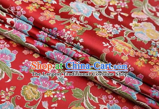 Chinese Classical Flourish Flowers Pattern Design Purplish Red Brocade Fabric Asian Traditional Satin Silk Material