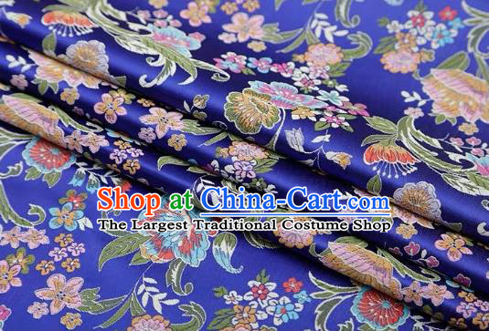 Chinese Classical Flourish Flowers Pattern Design Royalblue Brocade Fabric Asian Traditional Satin Silk Material