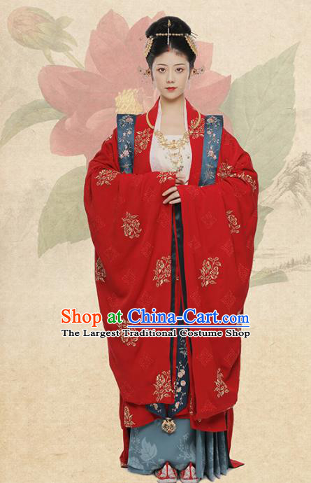 Chinese Ancient Queen Wedding Red Hanfu Dress Traditional Song Dynasty Imperial Empress Costumes for Women