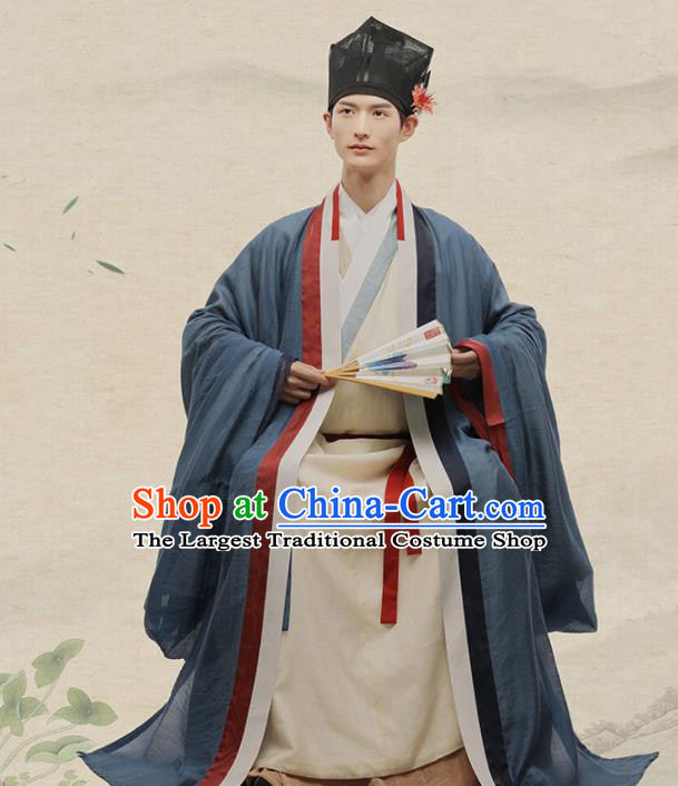 Chinese Ancient Scholar Hanfu Clothing Traditional Song Dynasty Litterateur Su Shi Costumes for Men