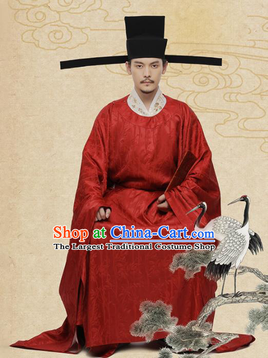 Chinese Ancient Minister Red Hanfu Clothing Traditional Song Dynasty Wedding Costumes for Men