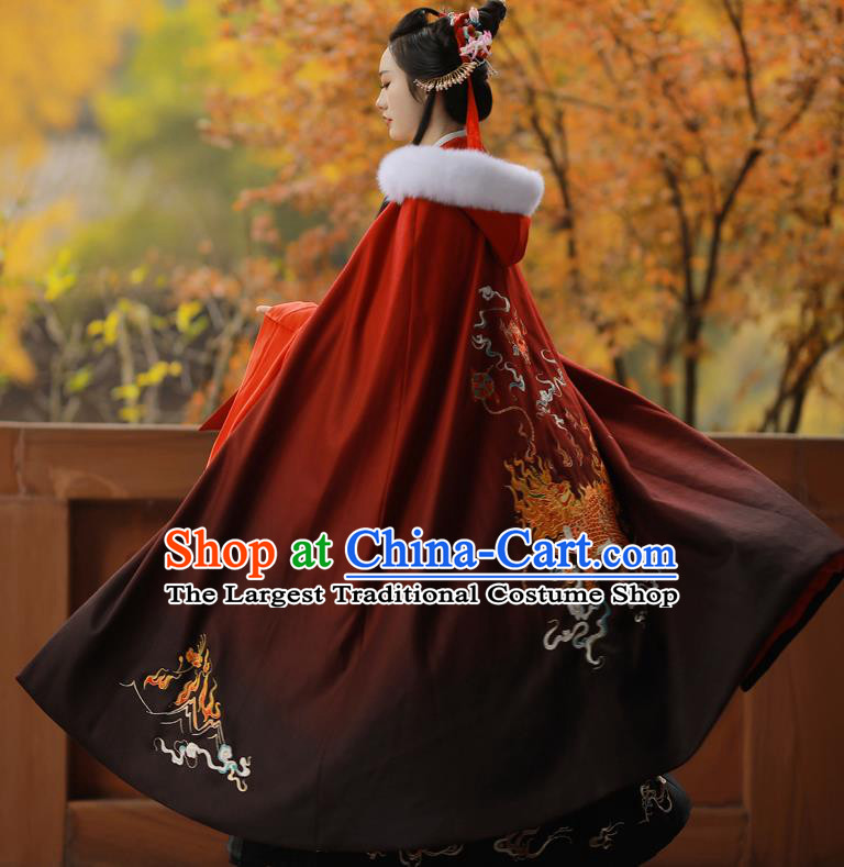 Chinese Ancient Princess Embroidered Kylin Red Cloak Traditional Ming Dynasty Court Lady Costume for Women