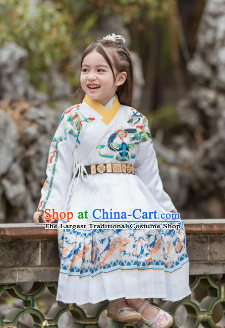 Chinese Traditional Girls Embroidered Costume Ancient Ming Dynasty Swordsman White Hanfu Dress for Kids