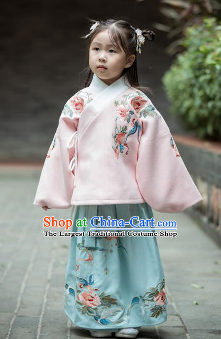 Chinese Traditional Girls Embroidered Peony Costume Ancient Ming Dynasty Princess Hanfu Dress for Kids