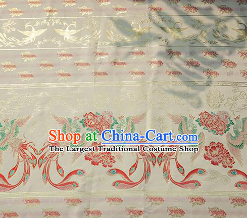 Chinese Royal Phoenix Peony Pattern Design White Brocade Fabric Asian Traditional Horse Face Skirt Satin Silk Material