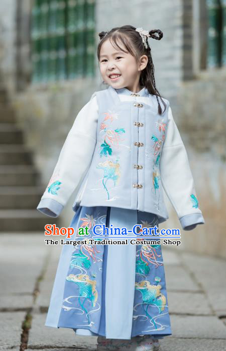 Chinese Traditional Girls Embroidered Blue Costumes Ancient Ming Dynasty Princess Hanfu Dress for Kids