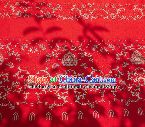 Chinese Royal Lotus Pattern Design Red Brocade Fabric Asian Traditional Horse Face Skirt Satin Silk Material