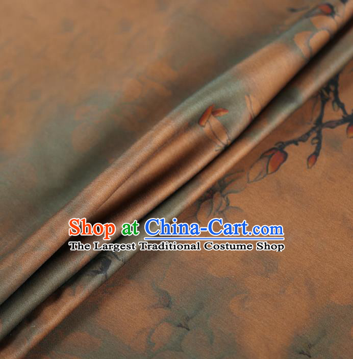 Chinese Classical Yulan Magnolia Pattern Design Brown Gambiered Guangdong Gauze Fabric Asian Traditional Cheongsam Silk Material