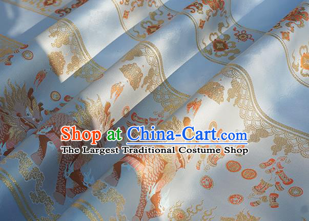 Chinese Royal Kylin Pattern Design Light Blue Brocade Fabric Asian Traditional Horse Face Skirt Satin Silk Material
