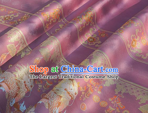 Chinese Royal Kylin Pattern Design Rosy Brocade Fabric Asian Traditional Horse Face Skirt Satin Silk Material