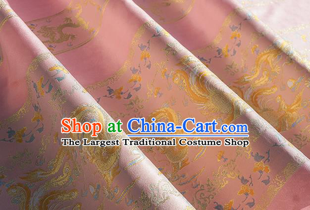 Chinese Royal Dragon Phoenix Pattern Design Pink Brocade Fabric Asian Traditional Horse Face Skirt Satin Silk Material