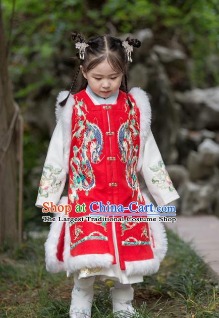 Chinese Traditional Girls Embroidered Red Vest Ancient Ming Dynasty Princess Costume for Kids