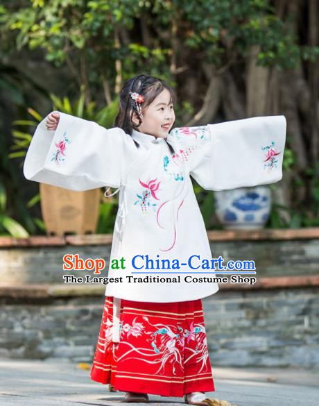 Chinese Traditional Girls Embroidered Hanfu Dress Ancient Ming Dynasty Princess Costume for Kids