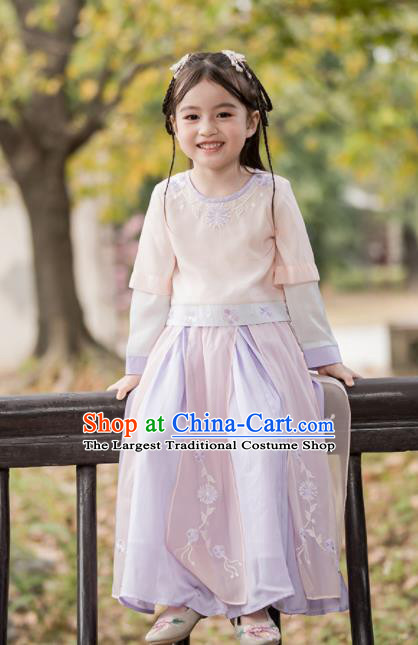 Chinese Traditional Girls Costume Ancient Princess Hanfu Dress for Kids