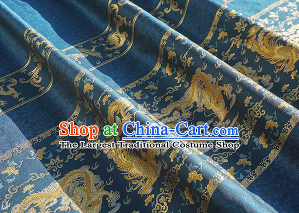 Chinese Royal Dragon Phoenix Pattern Design Navy Brocade Fabric Asian Traditional Horse Face Skirt Satin Silk Material