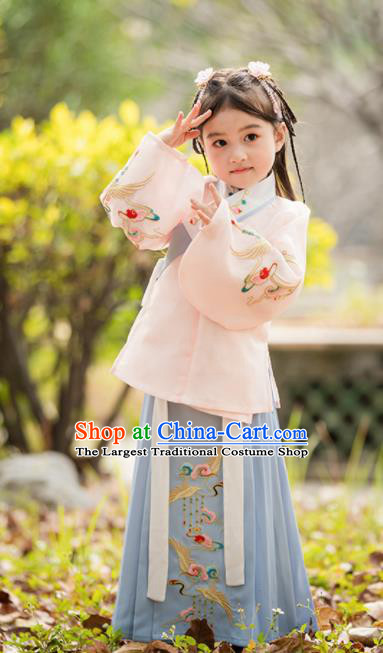 Chinese Traditional Girls Embroidered Costume Ancient Ming Dynasty Princess Hanfu Dress for Kids