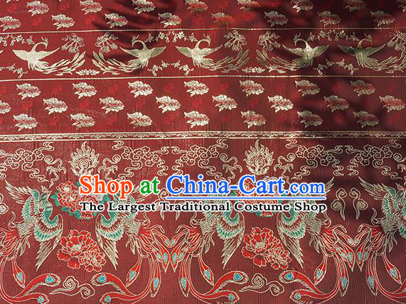 Chinese Royal Phoenix Peony Pattern Design Dark Red Brocade Fabric Asian Traditional Horse Face Skirt Satin Silk Material