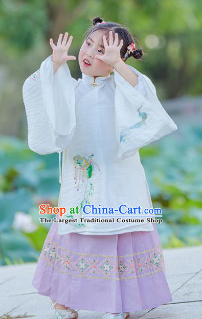 Chinese Traditional Girls Embroidered White Gown and Lilac Skirt Ancient Ming Dynasty Princess Costume for Kids