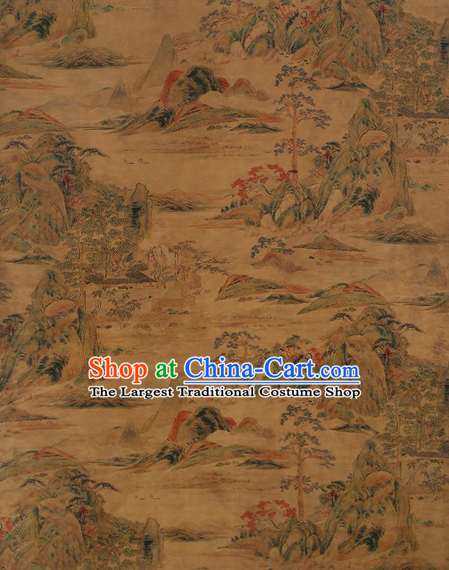 Chinese Classical Printing Landscape Pattern Design Ginger Gambiered Guangdong Gauze Fabric Asian Traditional Cheongsam Silk Material