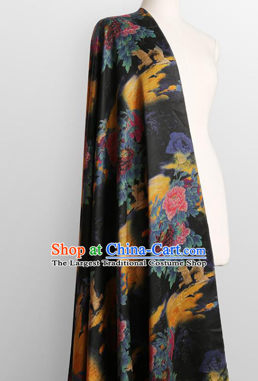 Chinese Classical Printing Peony Pattern Design Black Gambiered Guangdong Gauze Fabric Asian Traditional Cheongsam Silk Material