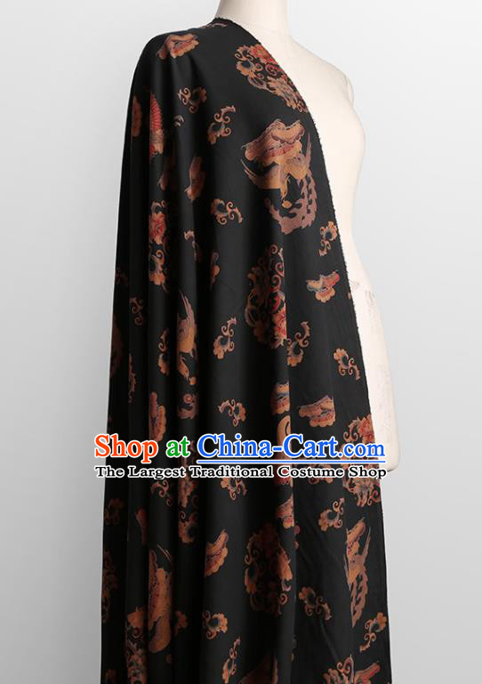 Chinese Classical Crane Peony Pattern Design Black Gambiered Guangdong Gauze Fabric Asian Traditional Cheongsam Silk Material