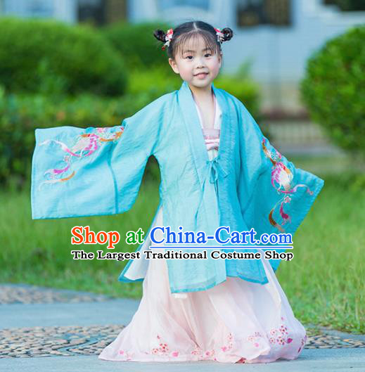 Chinese Traditional Girls Embroidered Blue Cloak and Pink Skirt Ancient Ming Dynasty Princess Costume for Kids
