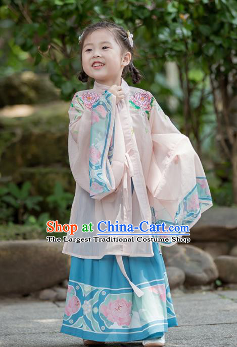 Chinese Traditional Girls Embroidered Peony Pink Cloak and Blue Skirt Ancient Ming Dynasty Princess Costume for Kids