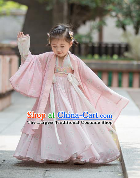 Chinese Traditional Girls Embroidered Pink Blouse and Skirt Ancient Ming Dynasty Princess Costume for Kids