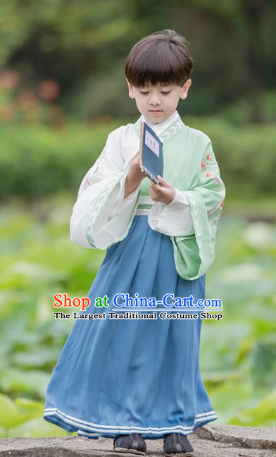 Chinese Traditional Han Dynasty Swordsman Green Costume Ancient Scholar Hanfu Clothing for Kids
