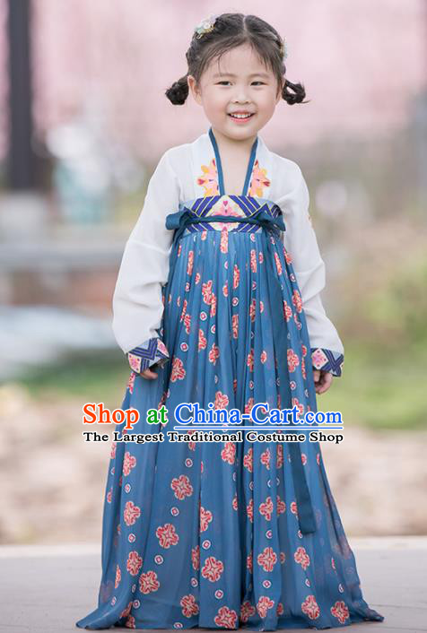 Chinese Traditional Girls Embroidered White Blouse and Blue Skirt Ancient Song Dynasty Princess Costume for Kids
